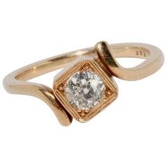 Antique Ladies Gold Ring with 0.55 Carat Old Cut Diamond, Art Deco, Nouveau
