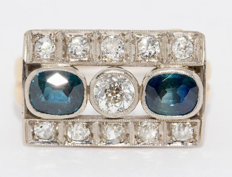 Women's Antique Ladies Gold Ring, with Sapphires and Diamonds For Sale