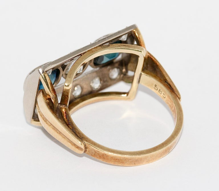 Antique Ladies Gold Ring, with Sapphires and Diamonds For Sale 1