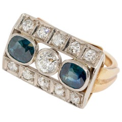Antique Ladies Gold Ring, with Sapphires and Diamonds