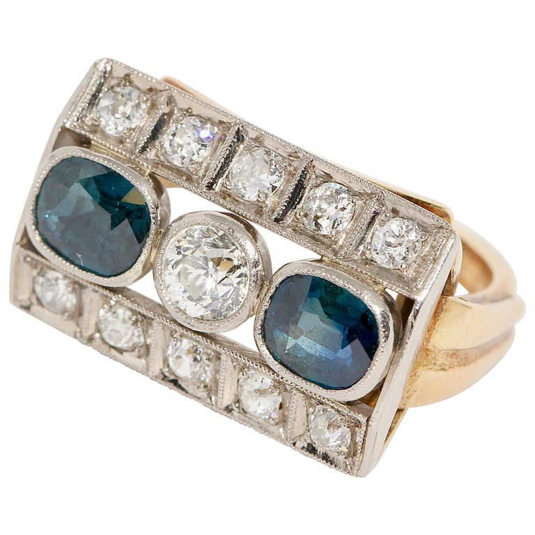 Antique Ladies Gold Ring, with Sapphires and Diamonds For Sale