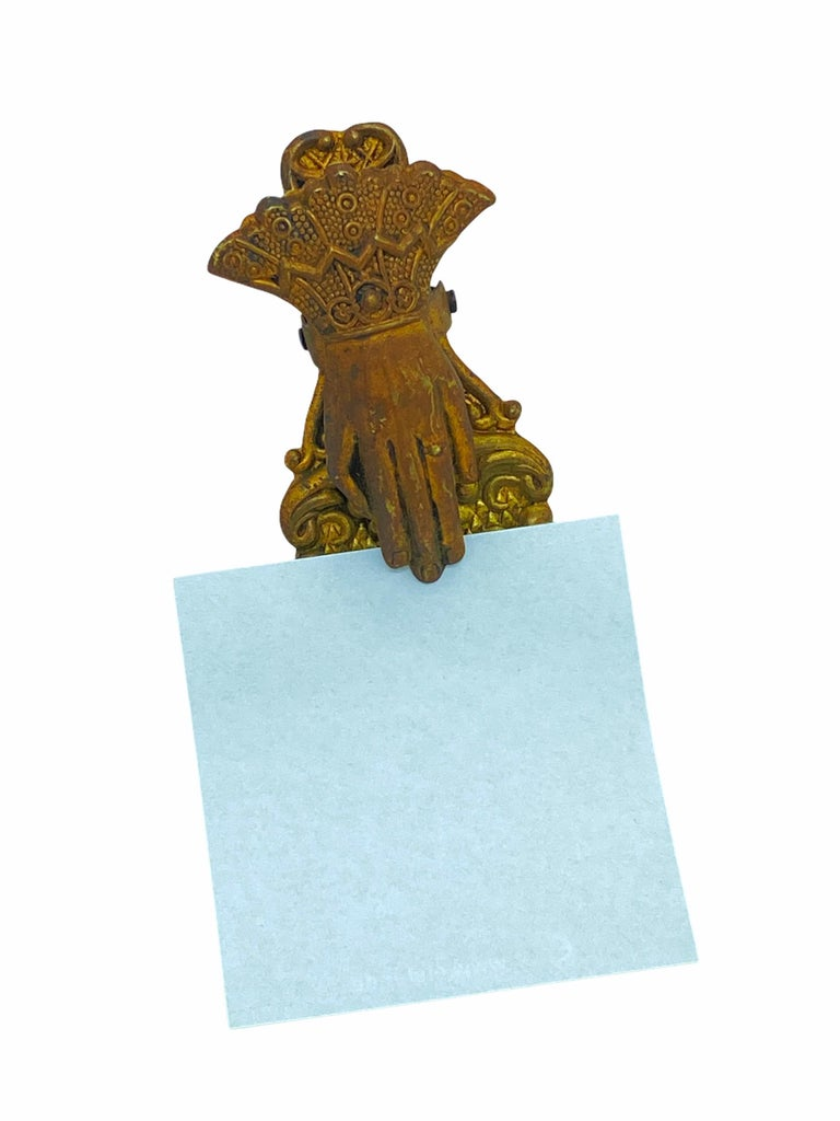 Late 19th Century Antique Ladies Hand Wall or Desk Letter Clip Erhard & Sohne Ormolu, German 1890s For Sale