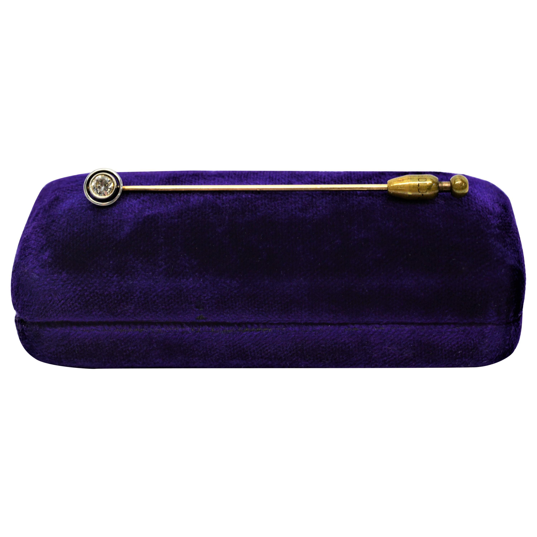 Antique Ladies Platinum 14 Karat Yellow Gold Diamond Stick Pin Brooch