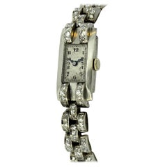 Antique Ladies Platinum Watch with Diamonds, circa 1940s