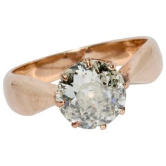 Antique Ladies Rose Gold Ring Set with a Large Old Cut Diamond, Solitaire
