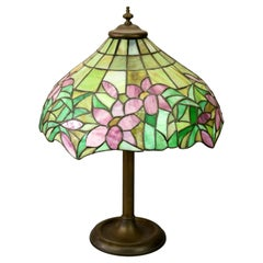 Antique Lamb Brothers Arts & Crafts Leaded Glass Water Lily Table Lamp Circa 192