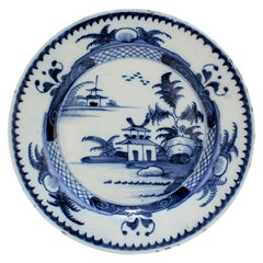 Antique Lambeth 18th Century English Delft Pottery Plate with Chinese Decoration