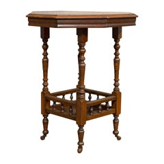 Antique Lamp Table, English, Walnut, Octagonal, Side, Games, Edwardian