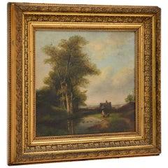 Antique Landscape Oil Painting in Gilt Wood Frame