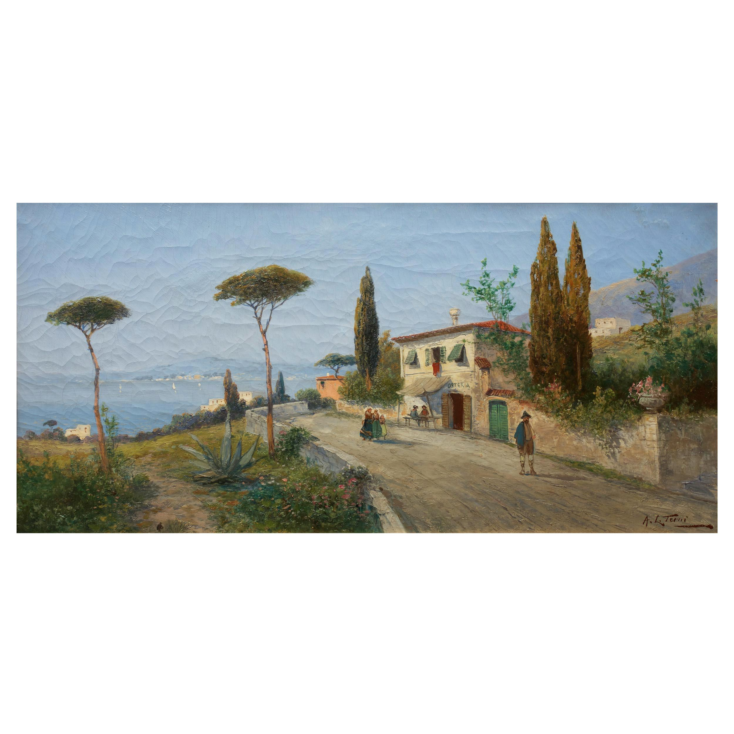 Antique Landscape Painting of Naples by George Fischhof, 'Austrian'