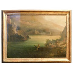 Antique Landscape Painting with Gilt Frame, 1950s, Italy