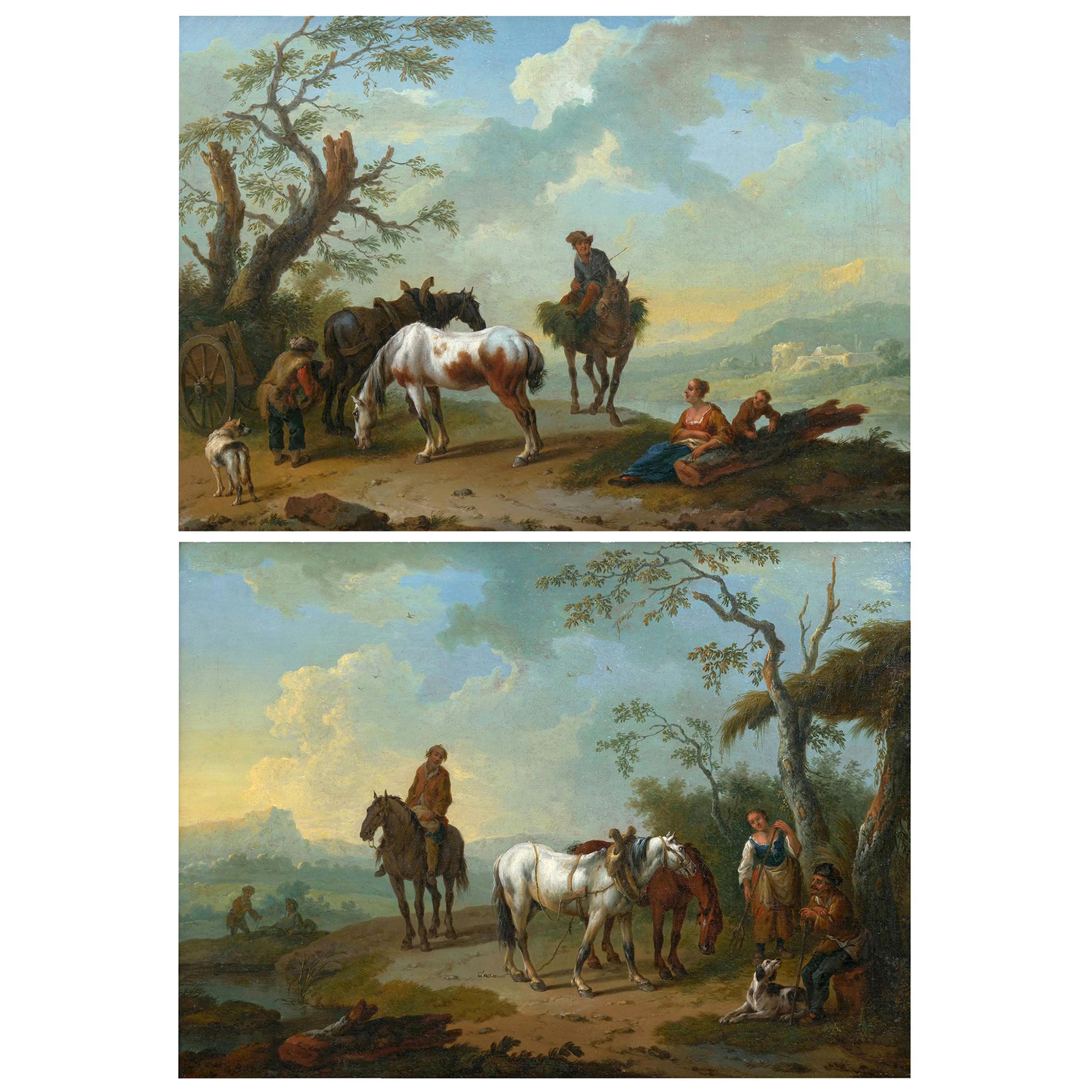 Antique Landscape Paintings Attributed to Pieter van Bloemen, 18th Century, Pair