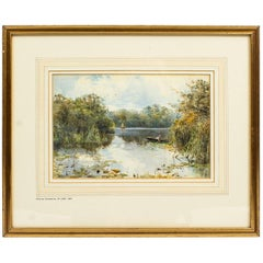 Antique Landscape Watercolor by Keeley Halwelle RI, 19th Century