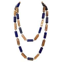 Antique Lapis Bead and Rose Gold Chain Long Sautoir Necklace