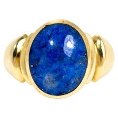 Antique Lapis Lazuli 9 Carat Gold Signet Ring