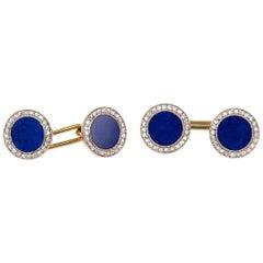 Antique Lapis Lazuli and Diamond Cluster Cufflinks in Platinum and Gold, 1910