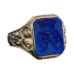 Antique Lapis Lazuli Gold Armorial Signet Ring