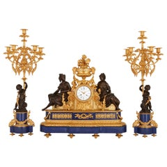 Antique Lapis Lazuli, Patinated and Gilt Bronze Clock Set