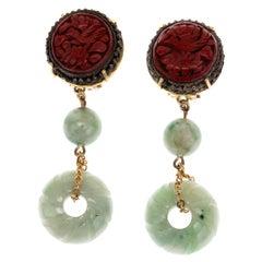 Antique Laquer Jade 18 Karat Gold Earrings