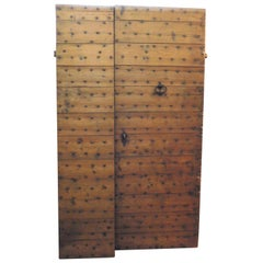 Antique Larch Entry Door, with Nails Rustic Wood, 1700, Italy