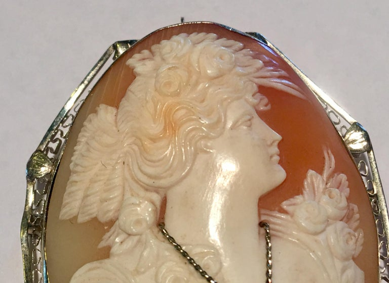 Victorian Antique Large 14K White Gold Cameo Woman Wearing Diamond Necklace Brooch Pendant For Sale