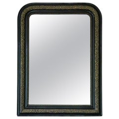 Antique Large 19th Century Overmantle Wall Mirror Ebonised and Gilt Finish