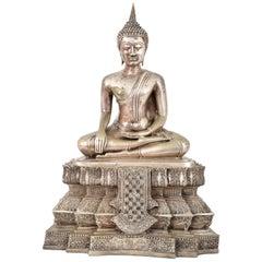 Antique Large 19th Century Tibetan Silver Gilt Bronze Buddha Statue Sculpture