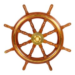 Antique Oak and Brass Set 8-Spoke Ships Wheel, 19th Century