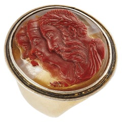 Antique Large Agate Three Profiles Cameo Ring