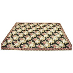Antique Large American Art Nouveau Floral Hand Hooked Wool Rug Carpet