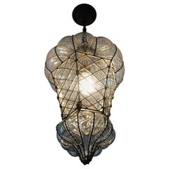 Antique Large and Rare Venetian Mouth Blown Glass in Metal Frame Pendant Light
