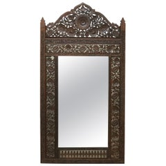 Antique Large Anglo-Indian Reticulated & Carved Teakwood Wall Mirror, circa 1930