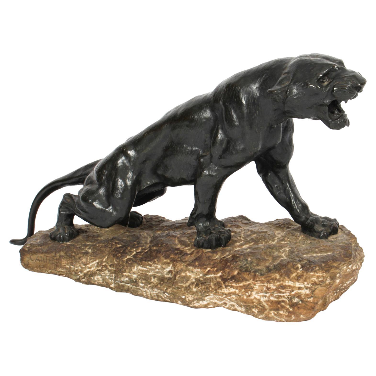 Antique Large Art Deco Bronze Panther by Thomas François Cartier, 1920s