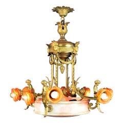 Antique Large Brass and Alabaster Center Cherub Pendant Chandelier 10-Light