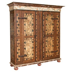 """Antique Large """"Break Down"""" Armoire Shrunk From Germany with Original Polychrome"""