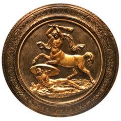 Antique Large Bronze Roundel of Hercules Fighting Centaur