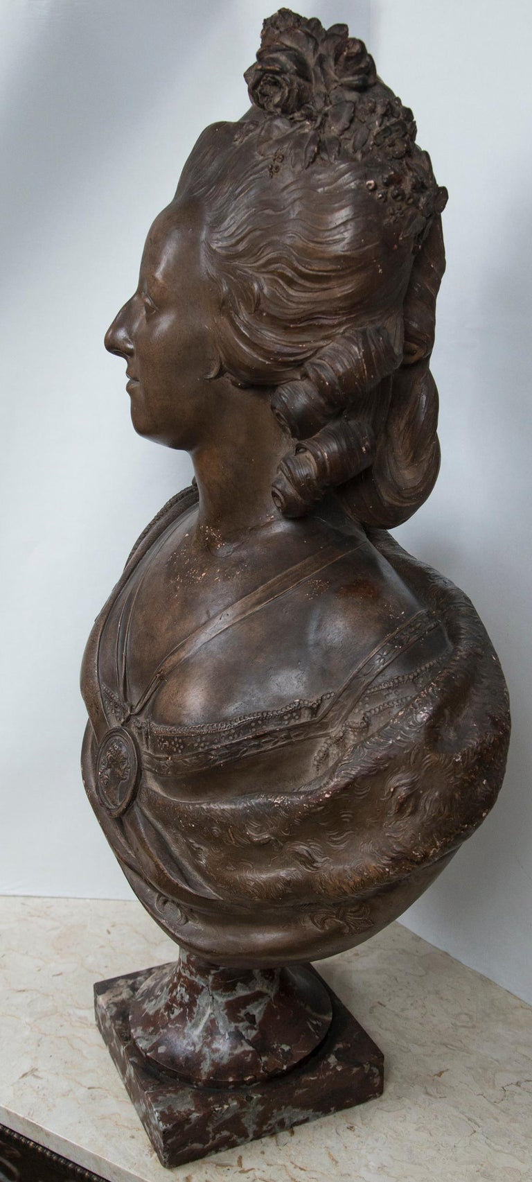 With dark glazed finish. After the original by Felix Lecomte, (1737-1817) Marble base.
