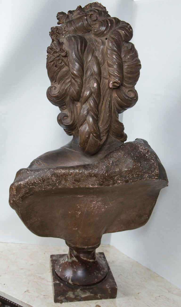 French Antique Large Bust in Terracotta of Marie Antoinette For Sale