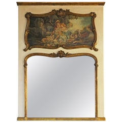 Antique Large circa 1900 Gilt Full Height Wall Trumeau Mirror
