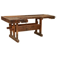 Antique Large Carpenter's Workbench from Denmark with Dark Patina