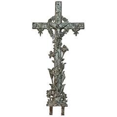 Antique Large Cast Iron High Relief Garden Crucifix, circa 1900