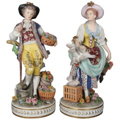 Antique Large Chelsea School Hand Painted Porcelain Courting Couple Figures 1890