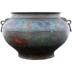 Antique Large Chinese Bronze Champlevé Planter Bowl