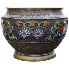Antique Large Chinese Bronze Cloisonné Planter Bowl, Late 19th Century