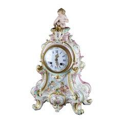 Antique Large Cupid German Meissen School Porcelain Clock, Fenon Paris, c1890