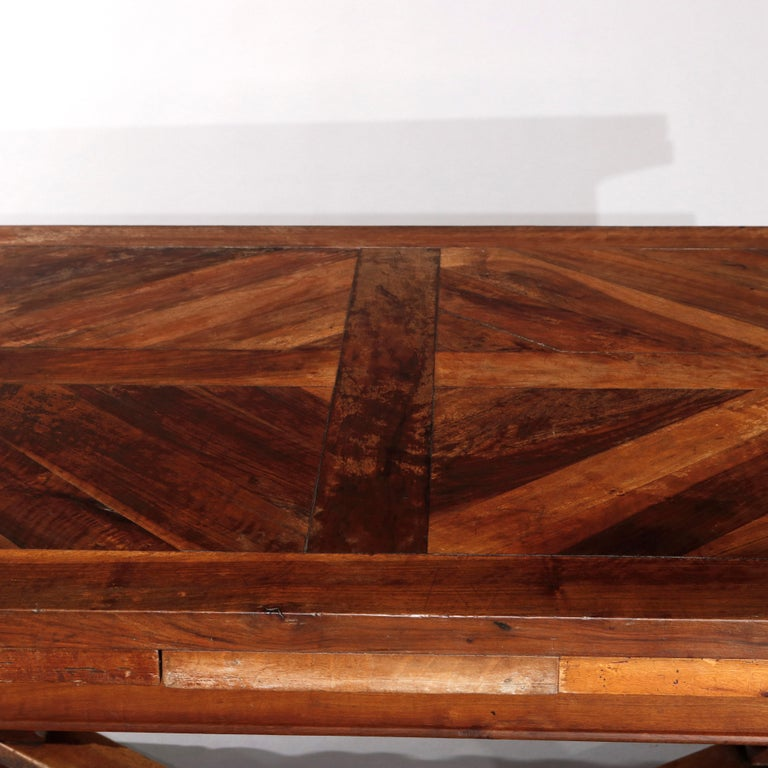 Large Continental Parquetry Inlaid Walnut Draw-Top Dining Table, circa 1900 For Sale 4