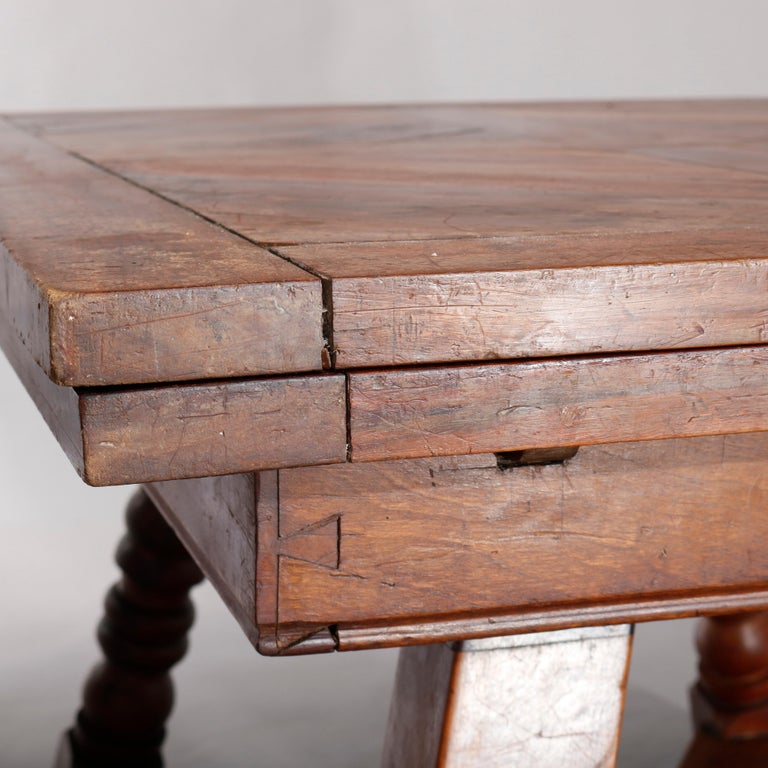 Large Continental Parquetry Inlaid Walnut Draw-Top Dining Table, circa 1900 For Sale 10