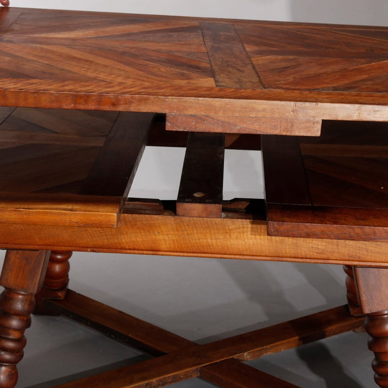 Large Continental Parquetry Inlaid Walnut Draw-Top Dining Table, circa 1900 For Sale 11