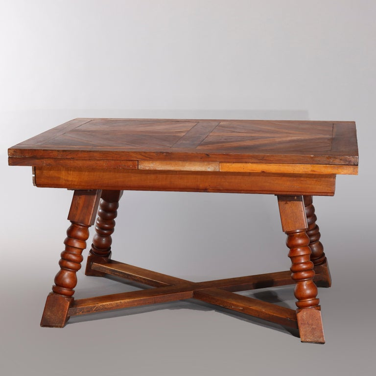 European Large Continental Parquetry Inlaid Walnut Draw-Top Dining Table, circa 1900 For Sale