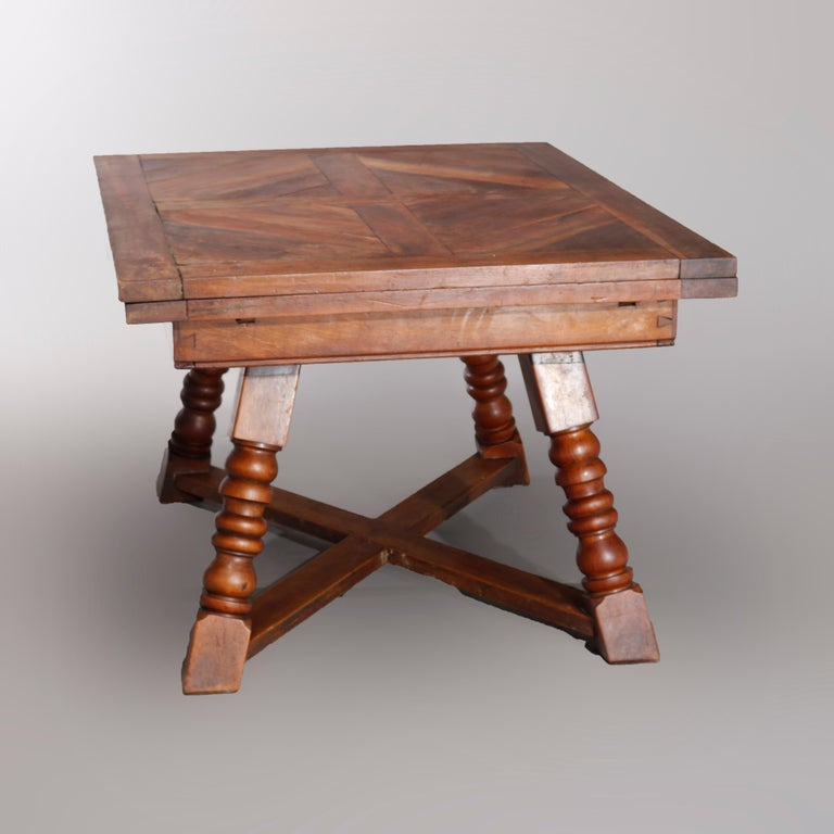 Carved Large Continental Parquetry Inlaid Walnut Draw-Top Dining Table, circa 1900 For Sale